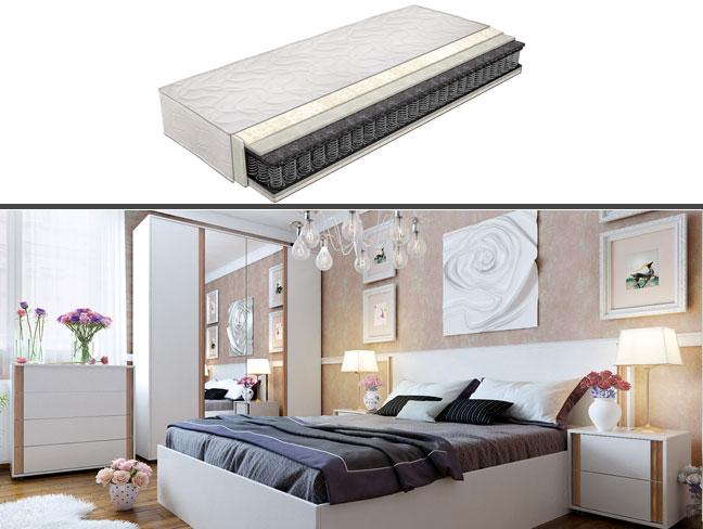 Спален комплект Индиго с еднолицев матрак на супер цени